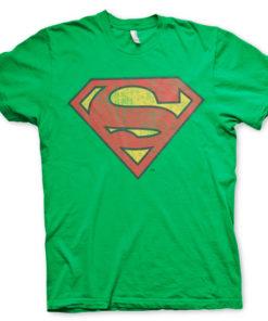 T-shirt Superman Washed Shield grandes Tailles de couleur Vert