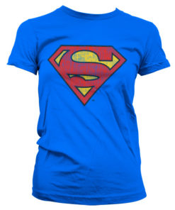 T-Shirt Superman Washed Shield pour Femme de couleur Bleu