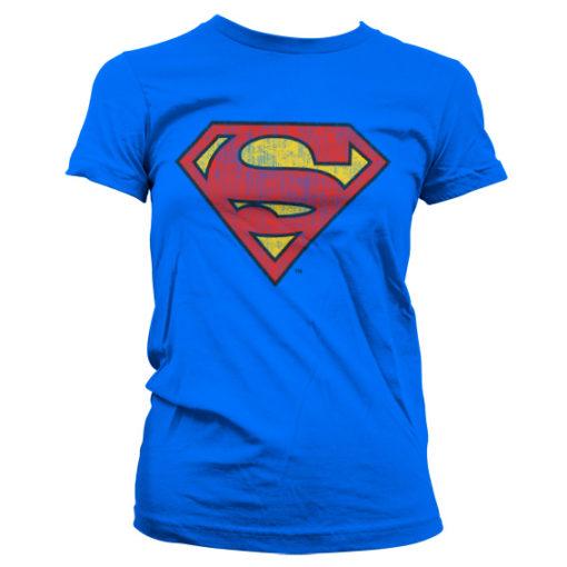 T-Shirt Superman Washed Shield pour Femme de couleur Bleu