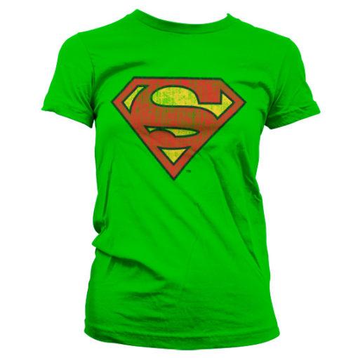 T-Shirt Superman Washed Shield pour Femme de couleur Vert