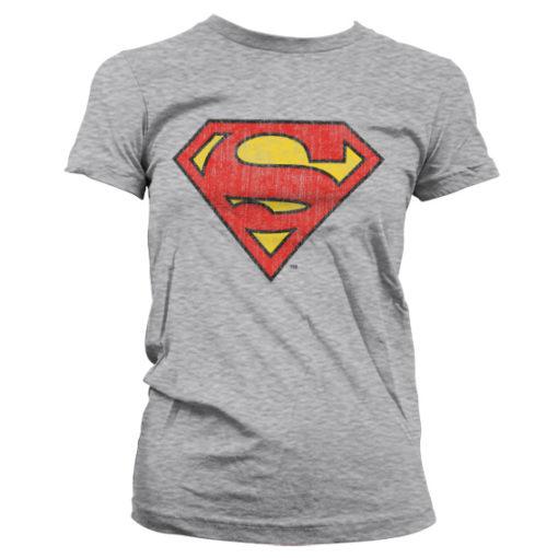T-Shirt Superman Washed Shield pour Femme de couleur Gris Chiné