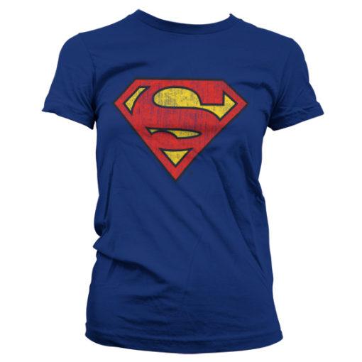 T-Shirt Superman Washed Shield pour Femme de couleur Bleu Nuit