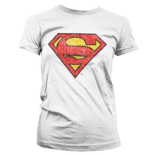T-Shirt Superman Washed Shield pour Femme de couleur Blanc