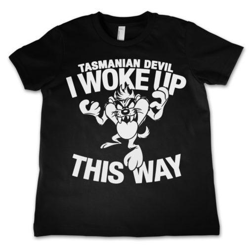 T-Shirt Tasmanian Devil - I Woke Up This Way pour enfant de couleur Noir