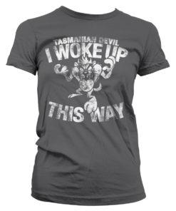 T-Shirt Tasmanian Devil - I Woke Up This Way pour Femme de couleur Gris Foncé