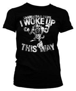 T-Shirt Tasmanian Devil - I Woke Up This Way pour Femme de couleur Noir