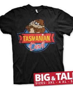 T-shirt Tasmanian Devil grandes Tailles de couleur Noir