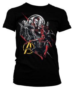 T-Shirt The Avengers Heroes pour Femme de couleur Noir