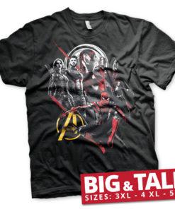 T-shirt The Avengers Heroes grandes Tailles de couleur Noir