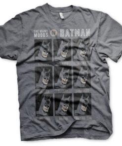 T-Shirt The Many Moods Of Batman de couleur Gris Sombre