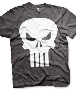 T-shirt The Punisher Skull grandes Tailles de couleur Gris Foncé