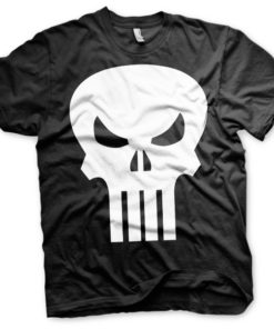 T-shirt The Punisher Skull grandes Tailles de couleur Noir