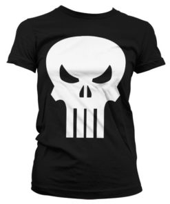 T-Shirt The Punisher Skull pour Femme de couleur Noir