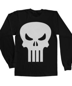 T-shirt The Punisher Skull Long Sleeve grandes Tailles de couleur Noir