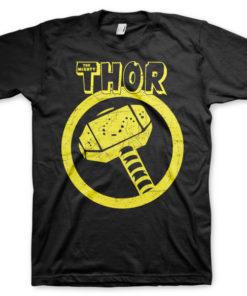 T-shirt Thor Hammer grandes Tailles de couleur Noir