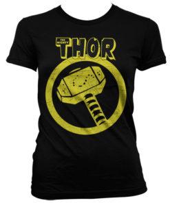 T-Shirt Thor Hammer pour Femme de couleur Noir