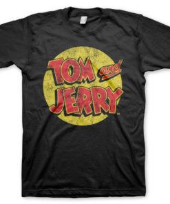 T-Shirt Tom & Jerry Washed Logo de couleur Noir