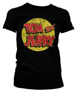 T-Shirt Tom & Jerry Washed Logo pour Femme de couleur Noir