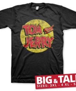 T-shirt Tom & Jerry Washed Logo grandes Tailles de couleur Noir