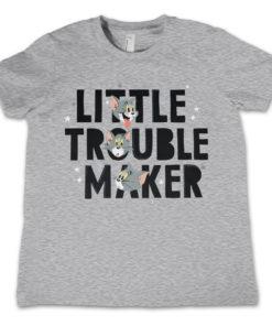 T-Shirt Tom - Little Trouble Maker  pour enfant de couleur Gris Chiné