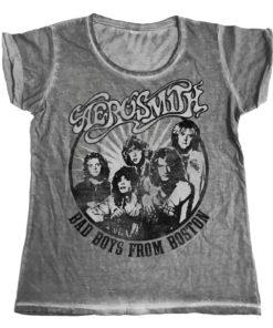 T-Shirt urbain Aerosmith - Bad Boys From Boston Urban Femme de couleur Gris Foncé