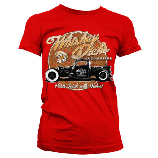 T-Shirt Whisky Dick's Auto Parts pour Femme de couleur Rouge