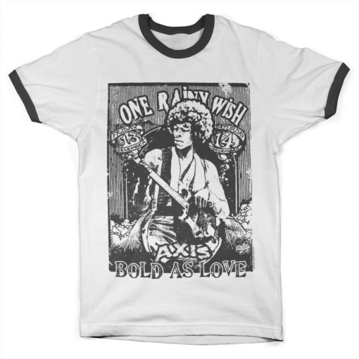 Tshirt Jimi Hendrix - Bold As Love Ringer  de couleur Blanc/Noir