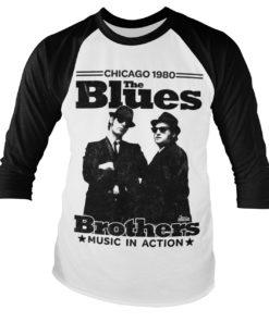 Tshirt manches longues Blues Brothers - Chicago 1980 Baseball de couleur Noir/Blanc