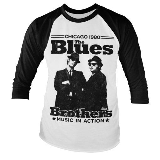 T-shirt Blues Brothers manches longues pour homme (noir et blanc)