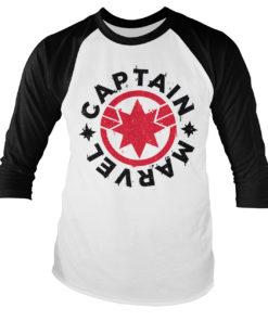 Tshirt manches longues Captain Marvel Round Shield Baseball de couleur