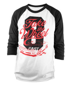 Tshirt manches longues Fast 8 - Take The Wheel Baseball de couleur Blanc/Noir