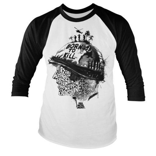 Tshirt manches longues Full Metal Jacket Sayings Baseball de couleur Blanc/Noir