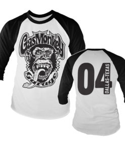 Tshirt manches longues Gas Monkey Garage 04 Baseball Long Sleeve de couleur Noir/Blanc