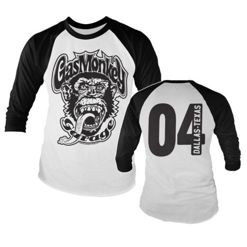 Tshirt manches longues Gas Monkey Garage 04 Baseball Long Sleeve de couleur Noir/Blanc