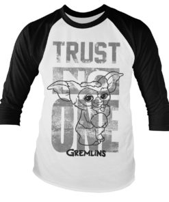 Tshirt manches longues Gremlins - Trust No One Baseball Long Sleeve de couleur Blanc/Noir