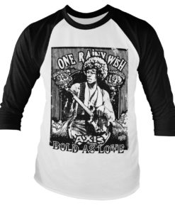 Tshirt manches longues Jimi Hendrix - Bold As Love Baseball de couleur Blanc/Noir