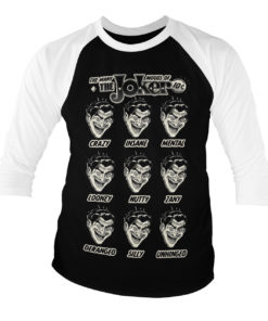 Tshirt manches longues The Many Moods Of The Joker Baseball de couleur Blanc/Noir
