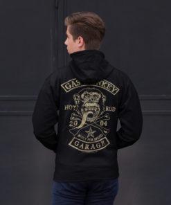 Homme de dos portant une veste Gas Monkey Garage (GMG) noire