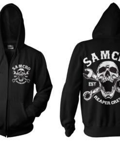Veste SAMCRO Reaper Crew 1967 Zipped Hood de couleur Noir