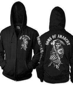 Veste SOA American Reaper Zipped de couleur Noir