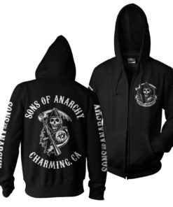 Veste SOA Full CA Backprint Zip Hood de couleur Noir
