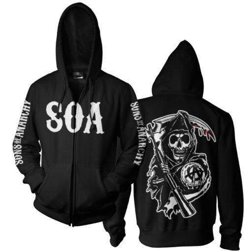 Veste SOA Reaper Zipped de couleur Noir