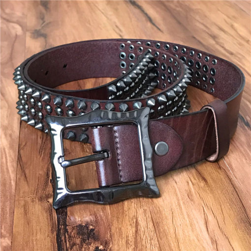 Ceinture Punk Rock à Clous en Cuir Marron