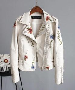 Veste rock pour femme blanche en simili cuir avec broderies florales