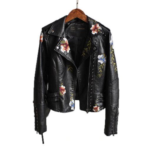 Veste rock pour femme noire en simili cuir avec fleurs brodées