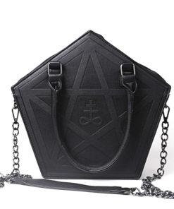 Sac Noir Gothique Femme avec Pentacle