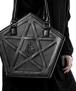 Sac gothique noir avec pentagram pour femme