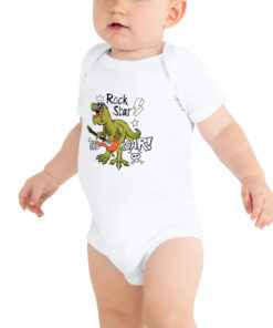 Body bébé dinosaure Rock Star blanc