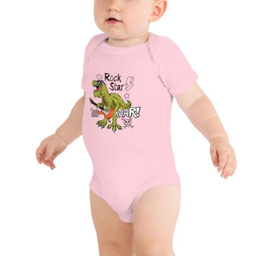 Body bébé dinosaure Rock Star rose