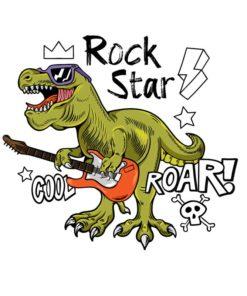 Dinosaure (T-rex) en train de jouer de la guitare électrique : une vraie Rock Star !